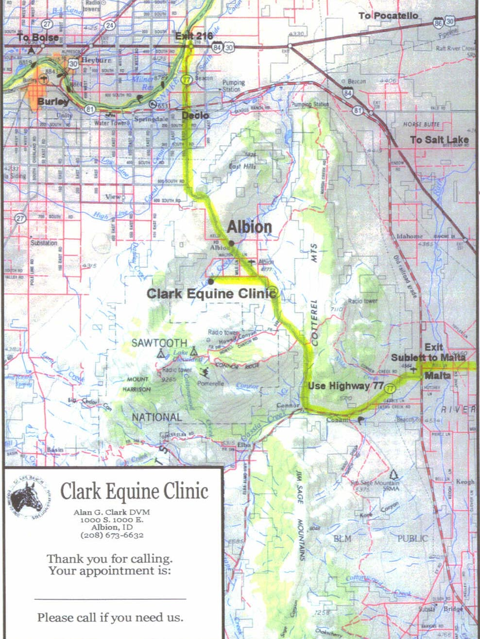 Albion Idaho Map.Contact Us